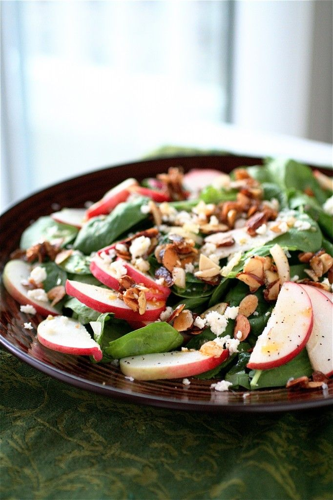 Lunch: Spinach and Apple Salad - Red Onion, Apple Cider Vinegar, White Vinegar, Sesame Seeds, Paprika, Sugar, Extra Virgin Olive Oil, Salt, Pepper, Unsalted Butter, Sliced Almonds, Spinach Leaves, Apples, & Cheese (optional/your choice).