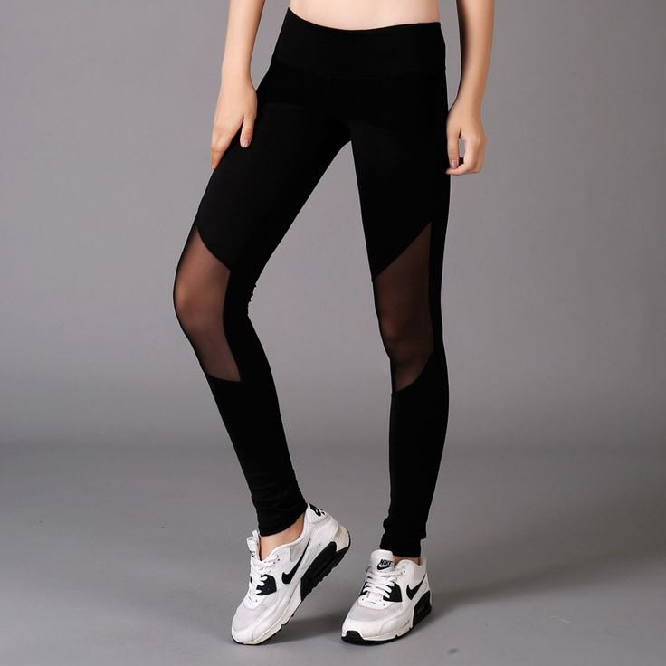 Women sexy transparent sport yoga fitness running exercise pants female Tight sports Leggings #Affiliate