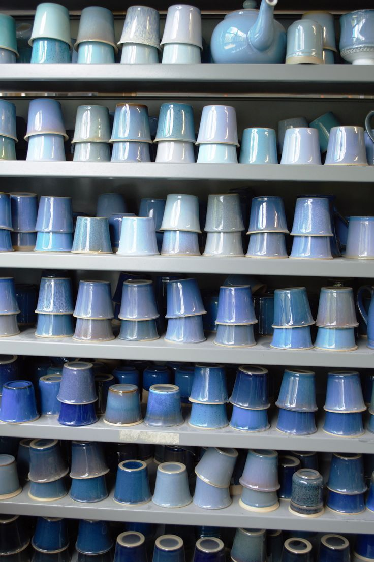 Look at all those shades of inky and pastel blues? Almost like an ombre isn't it? See all the interiors inspiration I found at Denby Pottery Village. Click now for more images.