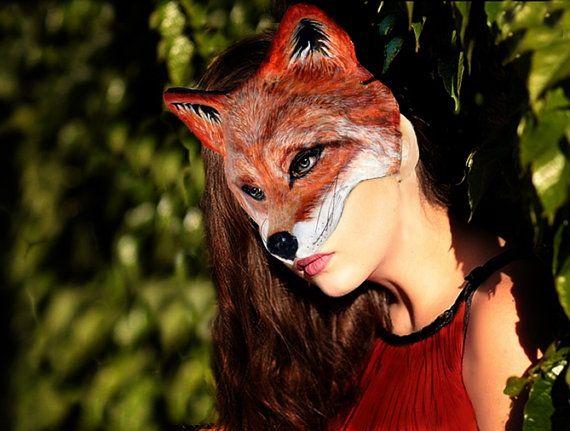 Fox  paper  mask    Animal  fox mask Paper mache fox mask Fox Paper mask Fox papier mache mask