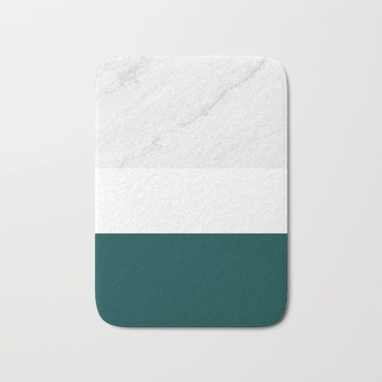Marble And Teal Bath Mat by ARTbyJWP from Society6 #bathmat #bathroom #bathroomdecor #bathroomaccessories #marble  ----     The perfect bath mats: fuzzy, foamy and finely enhanced with brilliant art. With a soft, quick-dry microfiber surface, memory foam cushion and skid-proof backing, our shower mats are a cut above your typical rug. Keep them clean with a gentle machine wash (no bleach!) and make sure to hang dry.