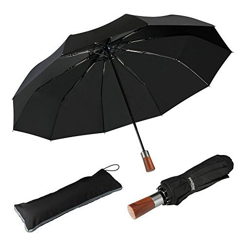 "#Automatic #Compact #Travel #Umbrella with #10 #Rib #Teflon #Coating #Deluxe #Carry #Bag TRULY PREMIUM QUALITY: Proudly made by Innotree after testing more than 100pcs umbrellas in the market. This #travel #umbrella is truly premium quality in both construction and material while featuring rich. #AUTOMATIC, #COMPACT AND LIGHTWEIGHT: Auto open/close function allows for easy one-hand operation. Measures just 11.8"" long and weighs less than 15oz for easy storage in purses, backp"