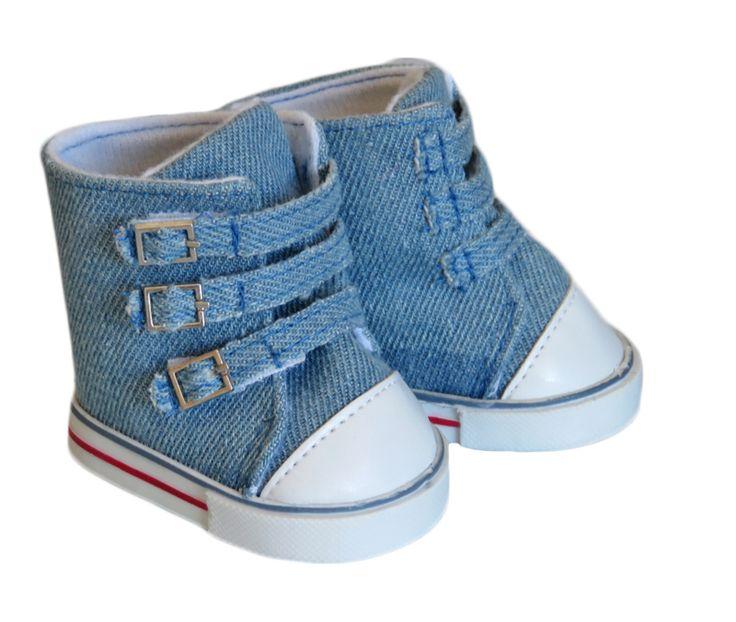 American Boy Doll Shoes.  Silly Monkey - Blue Denim Strap Sneakers, $7.00 (http://www.silly-monkey.com/products/blue-denim-strap-sneakers.html)