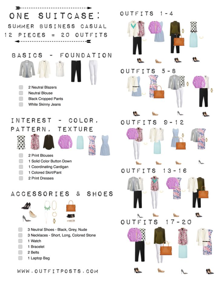 one suitcase checklist: summer business casual capsule wardrobe | Outfit Posts