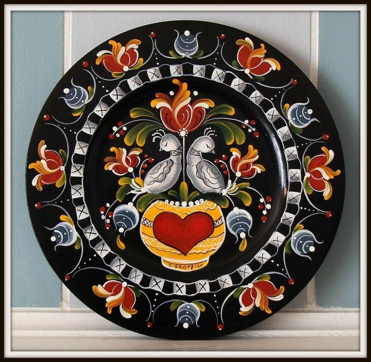"10"" Hand painted wooden plate , Os Norwegian  Rosemaling #Scandinavian"