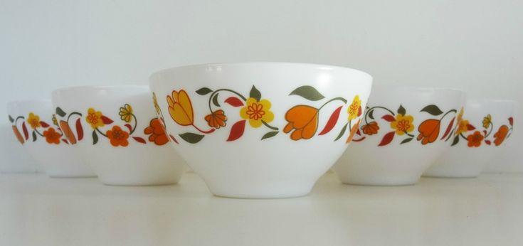 Vaisselle Vintage ... Bols arcopal motif Lierres fleuris ... sur www.mulubrok.fr ...