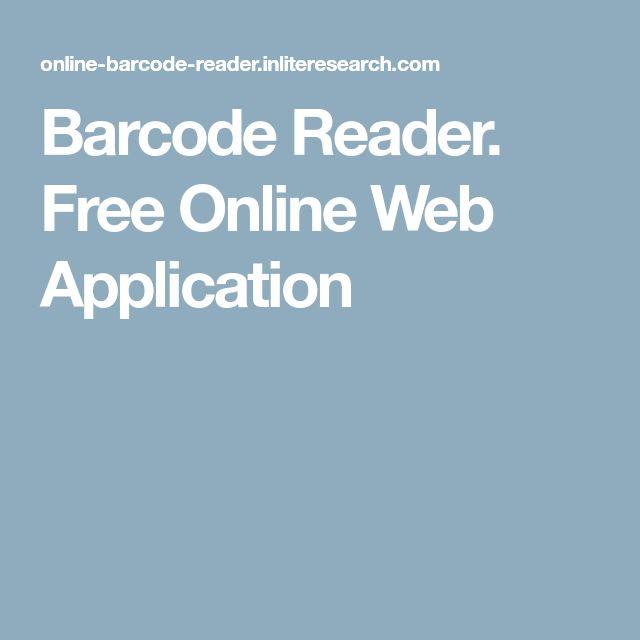 Barcode Reader. Free Online Web Application