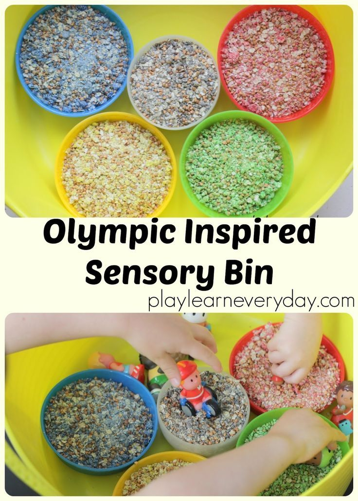 A fun and easy to set up sensory bin for little ones to learn about the Olympics through play.