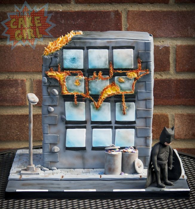 Batman Fire Cake - by poostan @ CakesDecor.com - cake decorating website