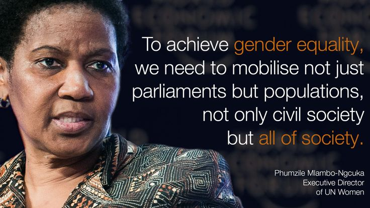 """""""To achieve #gender #equality we need to mobilise not just pariments but populations, not only civil society but all of #society."""" - Phumzile Mlambo-Ngcuka in #Davos at  #wef15"""