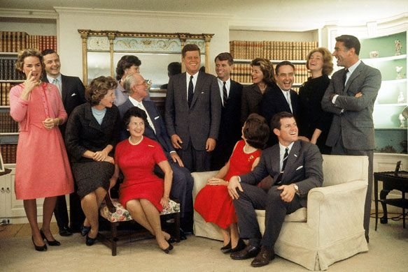 The Kennedy family at their home in Hyannisport, Massachusetts on the night after John F Kennedy won the 1960 presidential election. Front row from left: Eunice Shriver, Rose Kennedy , Joseph Kennedy , Jacqueline Kennedy, and Ted Kennedy. Back row, from left: Ethel Kennedy, Stephen Smith, Jean Smith, John F Kennedy, Robert F Kennedy, Pat Lawford , Sargent Shriver, Joan Kennedy, and Peter Lawford