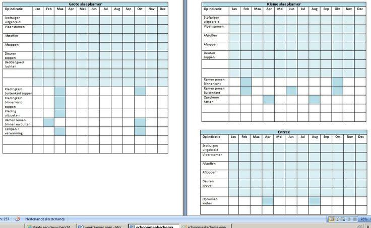Minimalistisch huishouden : Schoonmaak schema jaar maand checklist clean organised
