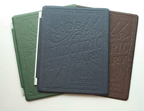 """""""Electric Library"""" embossed leather iPad 2 cover by Jim Thorpe, $80    • Wow, gorgeous. He ought to make Kindle and Nook covers, too."""
