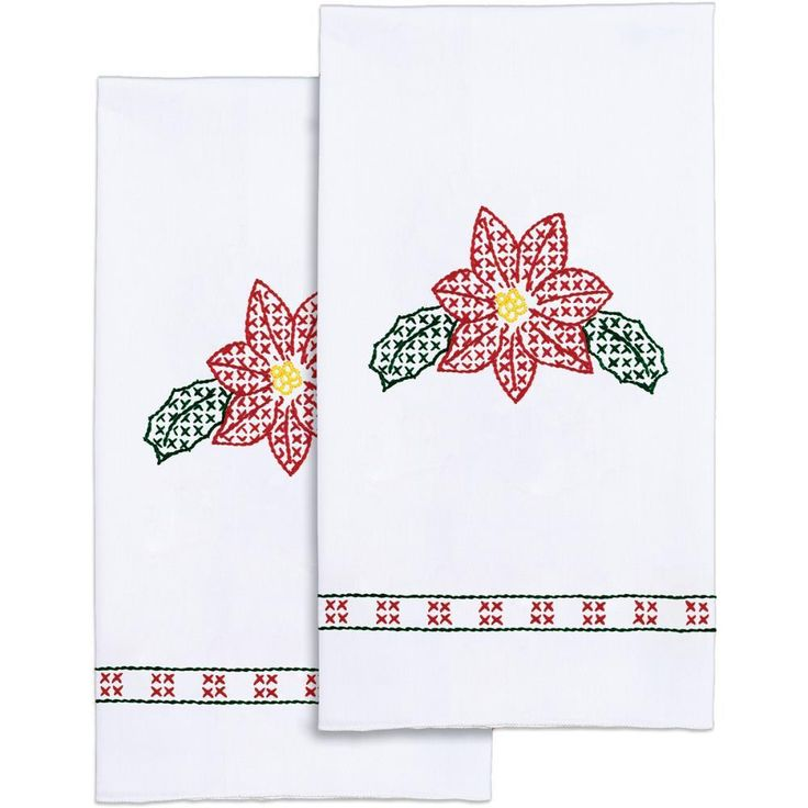 "Stamped White Decorative Hand Towel Pair 17""X28""-Poinsettias"