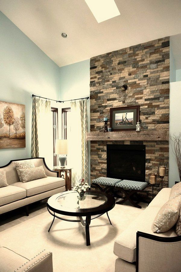 living room stone fireplace airstone design ideas