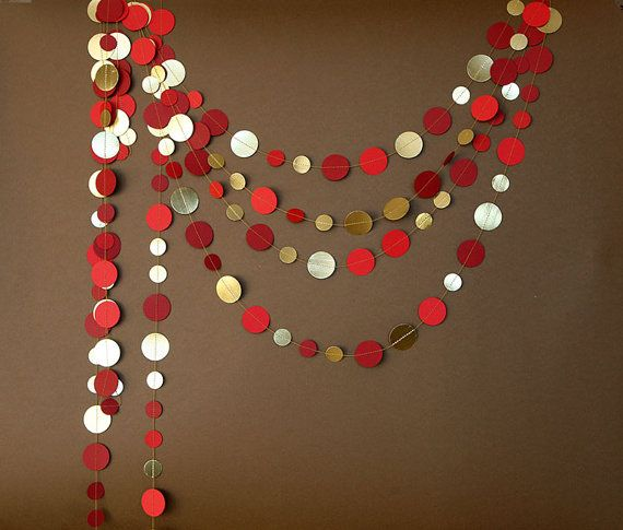 Christmas Garland Christmas Decoration Gold red garlandGold garlandRed garlandChristmas decor Golden garlandKM-C-0010Christmas decor by TransparentEsDecor