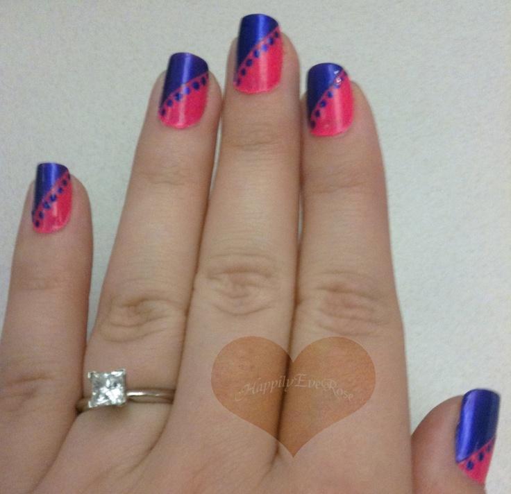 Hot pink & purple diagnol nail art using scotch tape and a dotting tool