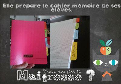 Aujourd'hui, je vous présente le cahier mémoire de mes élèves.  J'utilise un cahier polypro 140pages et des onglets.    Etape 1 : J'écris sur toutes les étiquettes le nom de la...