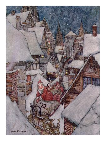 "Poem for Christmas - A Visit from St. Nicholas"" by Reverend Clement C. Moore.: Vintage Christmas, Canvas Prints, Books Illustrations, Christmas Illustrations, Art Prints, Greeting Cards, Christmas Eve, Rackham Illustrations, Arthur Rackham Christmas"
