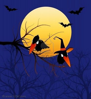 Bats n Crows under the moon.