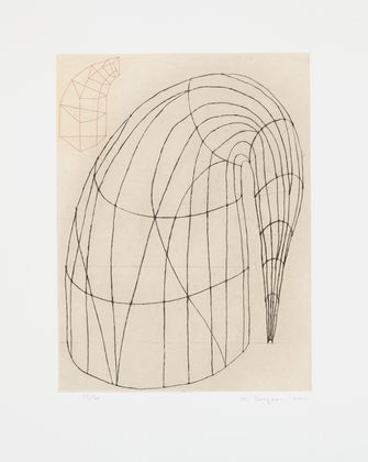 """Martin Puryear (American, born 1941)  Untitled  Date:2001Medium:Etching with drypoint and chine colléDimensions:plate: 23 5/8 x 17 11/16"""" (60 x 45 cm); sheet: 34 5/8 x 27 3/4"""""""