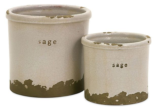 THESE ARE GREAT! KEEP 1, GIVE 1 TO A FRIEND!  S/2 Sage Herb Pots on OneKingsLane.com