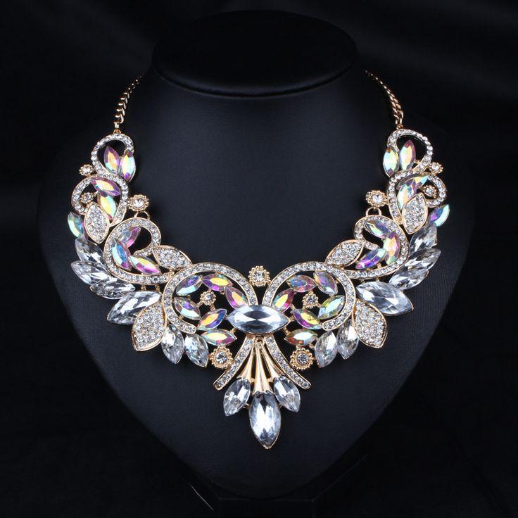 XCSSKG Fashion Style Crystal Flower Bib Big Statement Charm Chunky Necklace Collar hcnCs0