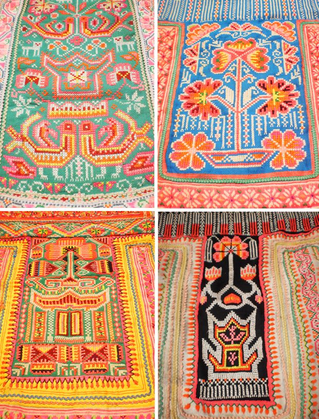 vintage textiles from the tribal people of Thailand, Laos and Vietnam all via the Etsy shop KulshiMumkin--and all surprisingly affordable.