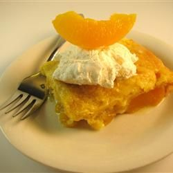 Peach Dump Cake Allrecipes.com    Very Easy:  2 cans peaches (heavy syrup), 1 box cake mix (yellow or white), 3/4 stick crumbled butter, 400 degrees 30-40 minutes.  Top with whipped cream or icecream