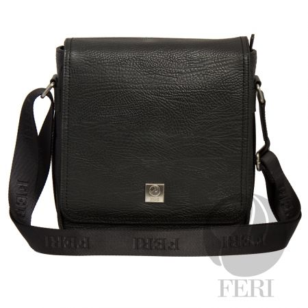 Global Wealth Trade Corporation - FERI - Channing - Murse - Black - Black leather - Customized FERI Lining...- Adjustable nylon shoulder strap with FERI embossed - Flap closure - Front flat pocket with snap closure and front zip pocket- Interior zip pocket