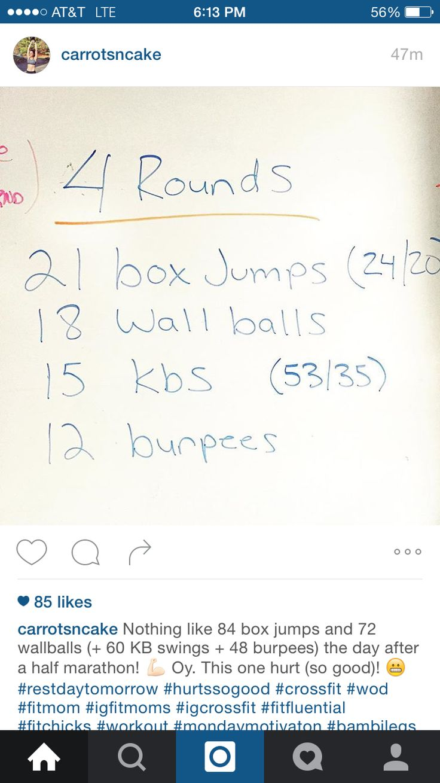 Crossfit wod - box jumps, wall balls, kettlebell swings, burpees