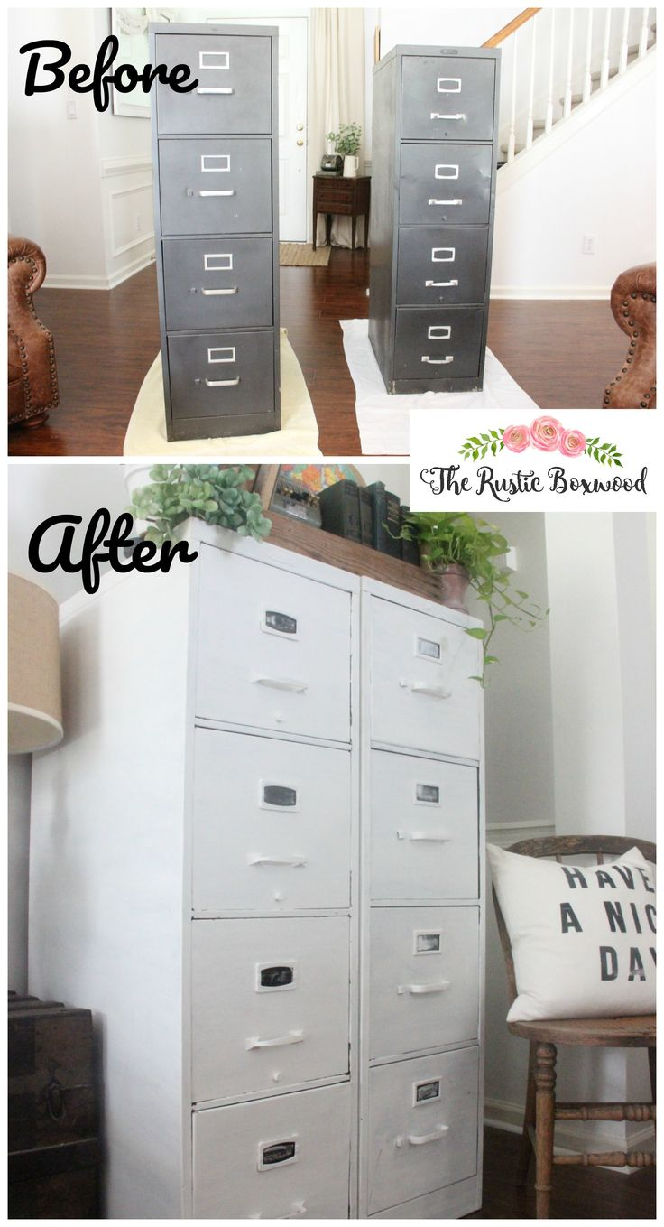 Before and After -- Metal File Cabinet Makeover | The Rustic Boxwood | farmhouse style, upcycling, farmhouse decor, transformation, bright white, country living, american farmhouse, vintage, industrial style