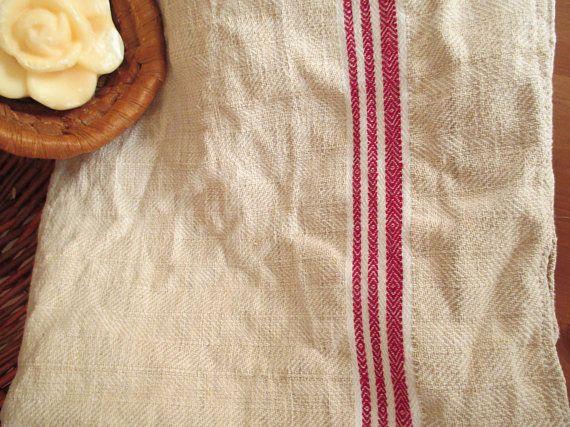 223. Flax linen towel vintage organic linen towel pure flax