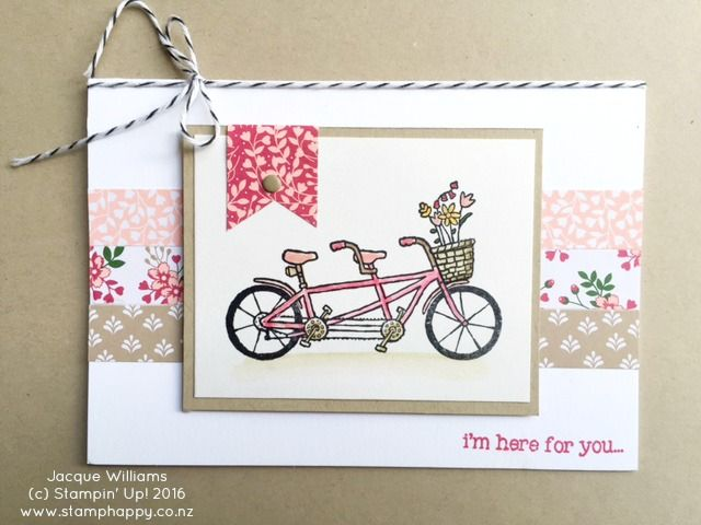 Stamp Happy: February 16, 2016 Stampin' Up! Pedal Pusher love note Love Blossoms DSP Stack