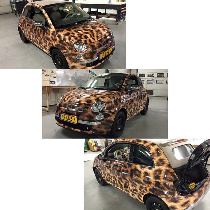 MY CAR!! <3<3<3 Fiat 500 panther car wrap