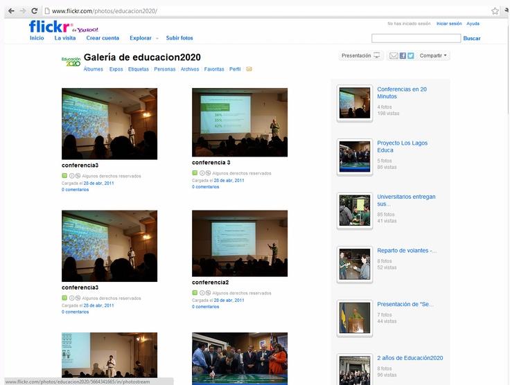 Flickr: http://www.flickr.com/photos/educacion2020/ . La organización ha publicado 200 fotos divididas en 19 álbumes fotográficos, situados entre el 29 de abril de 2001 y 28 de abril de 2011. En su perfil no tiene contactos ni testimonios.