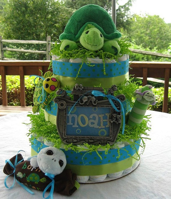 Custom order for Turtle diaper cake for baby Noah.  Made by GK Babies on etsy.com