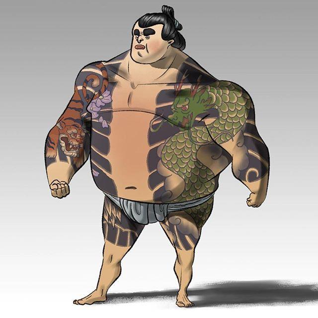 【noahnoahdraws】さんのInstagramをピンしています。 《Yakuza Sumo (edits) . . . . . #japanesetattoos #tattoo #japanesedragontattoo #dragon #japanesetiger #earthandsky #body #guard #bodyguard #sumo #wrestler #sumowrestler #yakuzatattoo #yakuza #characterdesigns #sketchdaily #digitalillustration #digitalpaint #happysundayeveryone #cherryblossoms》