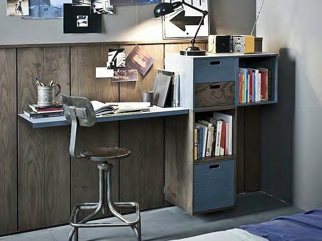 Lacquered writing desk with bookcase 5punto7 Collection by Shake