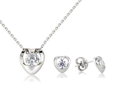 """I Do"" & ""I Do Too"" sterling silver pendant & earring set"