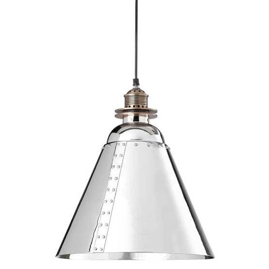 Large industrial pendant in nickel finish - ATLGIP30