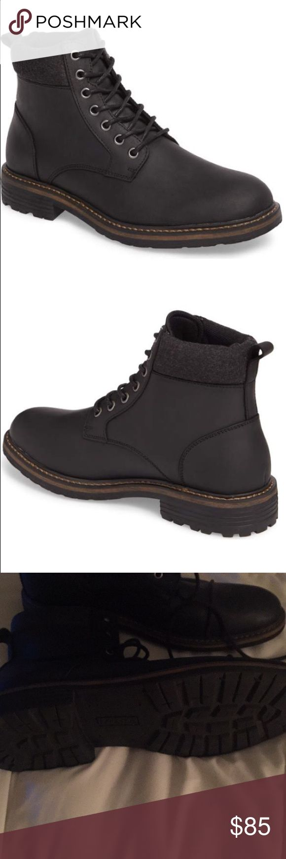 The Rail Men's Black Rugged Style Boots Worn only twice. Excellent condition. Leather upper sole and lining. Great rugged style boot in Black . Size 44. Nordstroms size is 44 The Rail Shoes Boots
