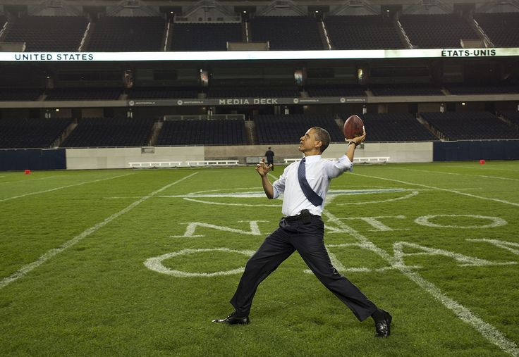 President Barack Obama throws a football - Soldier Field - Wikipedia
