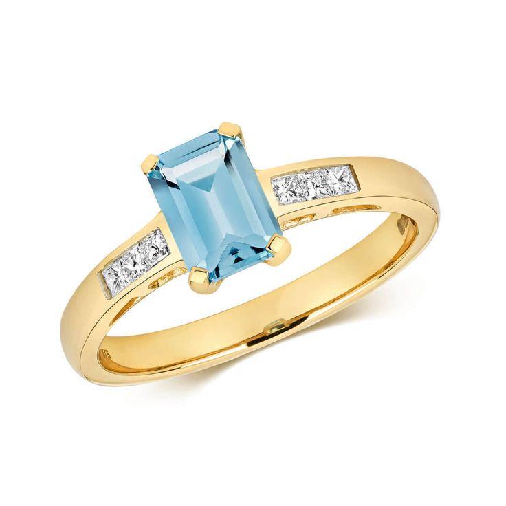 Ladies 9ct Gold London Blue Topaz & Diamond Ring