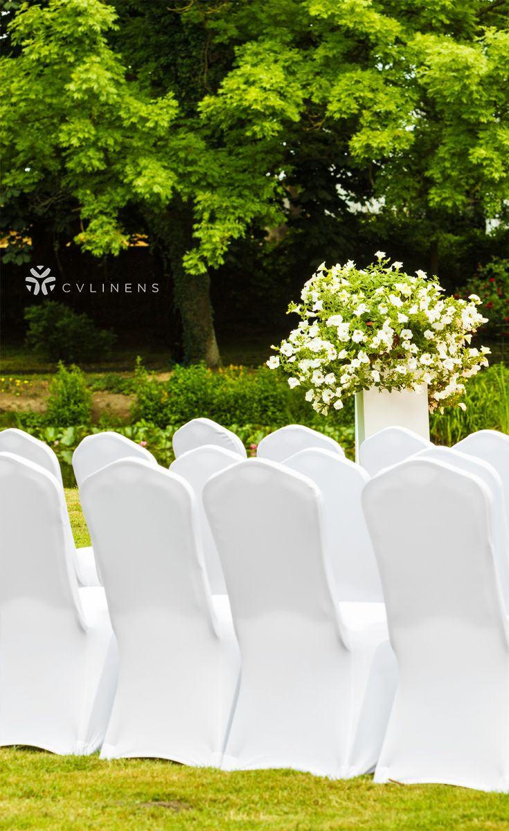 Easy To Set Up White Chair Covers For Outside Wedding Ceremony