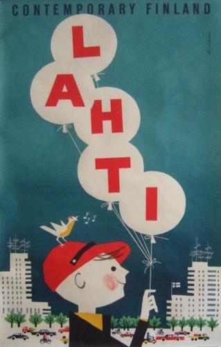 60s Poster of Lahti - Finland by Martti Mykkänen