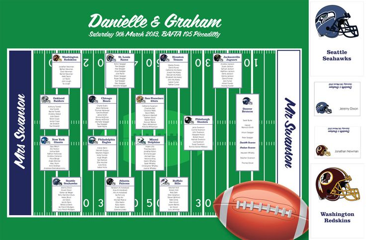 American football wedding table plan in vibrant colourings.  Matching table stationery brings the theme together to present the WOW factor at a Wedding Breakfast! Ship internaionally