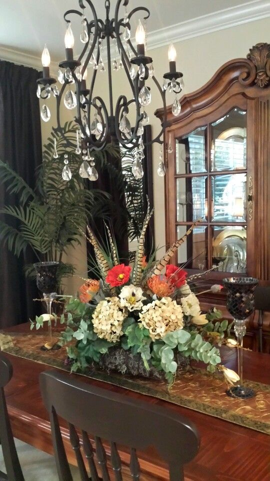 Tuscan Inspired Floral Arrangement And Dining Room