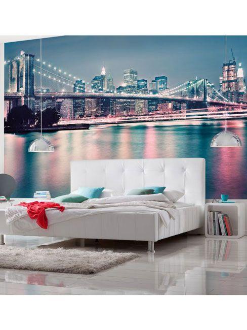 New York Brooklyn Bridge Neon Photo Wall Mural 368 x 254 cm | Wallpaper | Bedroom