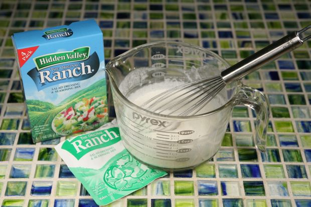 Low carb ranch;1 packet of Hidden Valley Ranch Dressing Mix  1/2 cup Heavy Cream  1/2 cup Water  1 cup Mayonnaise